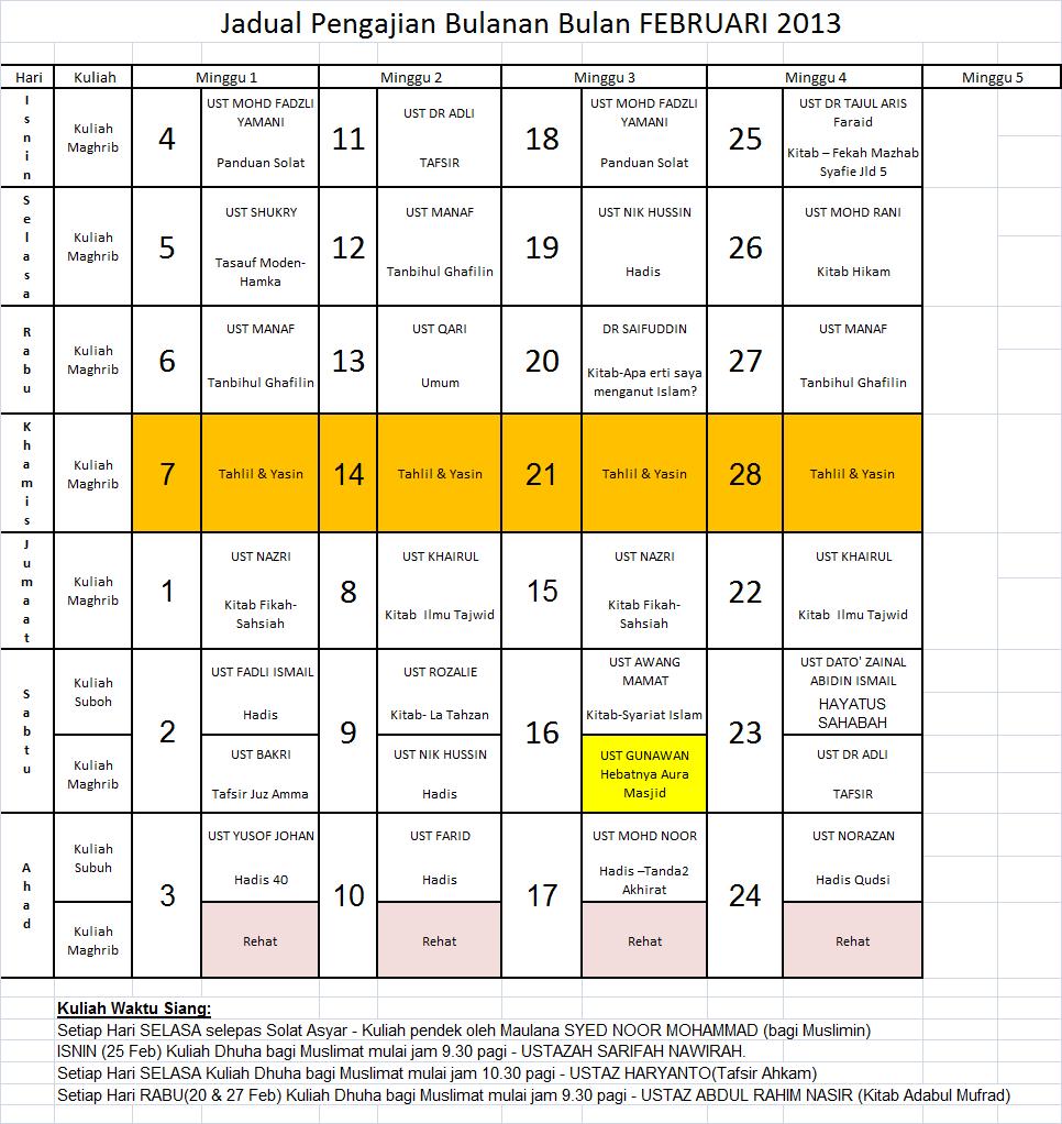 Jadual Feb 13