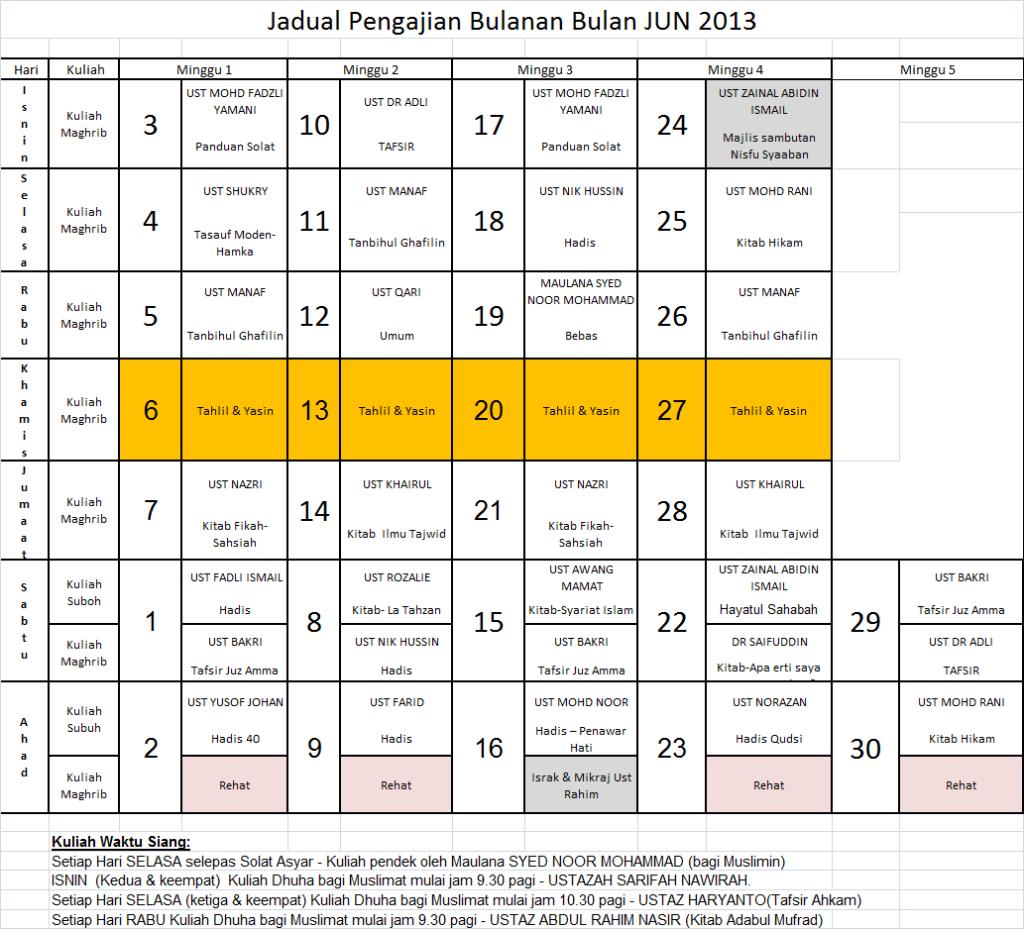 Jadual Jun 13