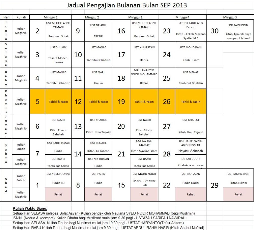 Jadual Sep13
