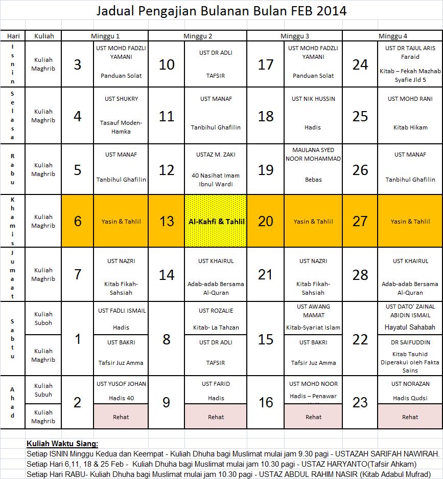 Jadual Feb 14