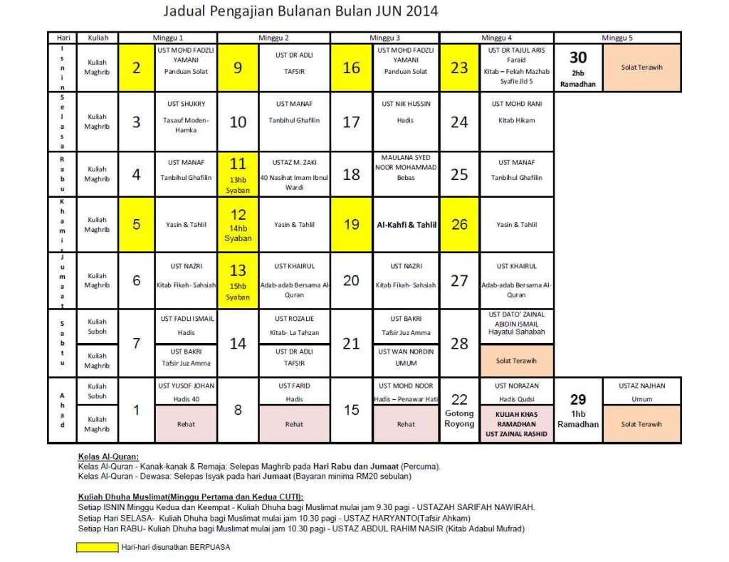 Jadual Jun14