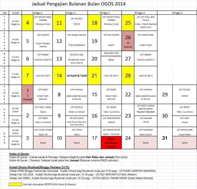 Jadual Ogos 14
