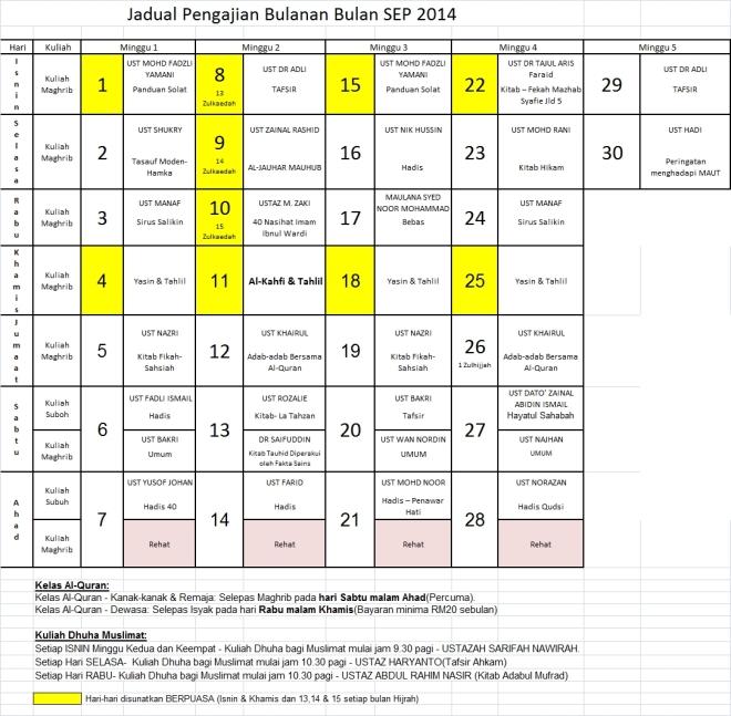 Jadual Sep14