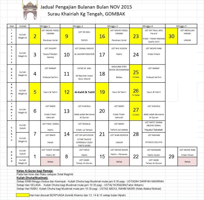 Jadual Pengajian Nov 15