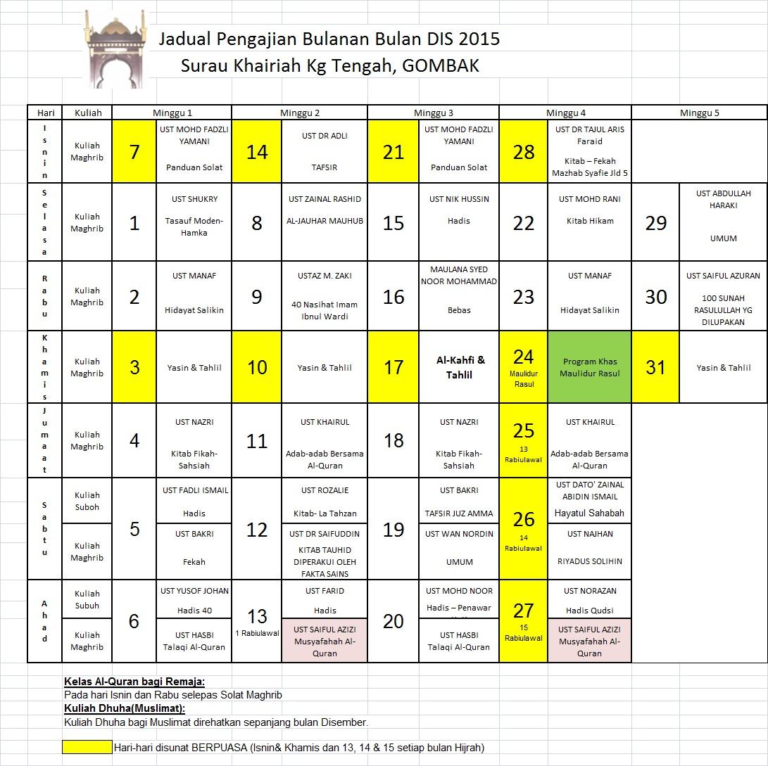 Jadual Pengajian Dis 2015