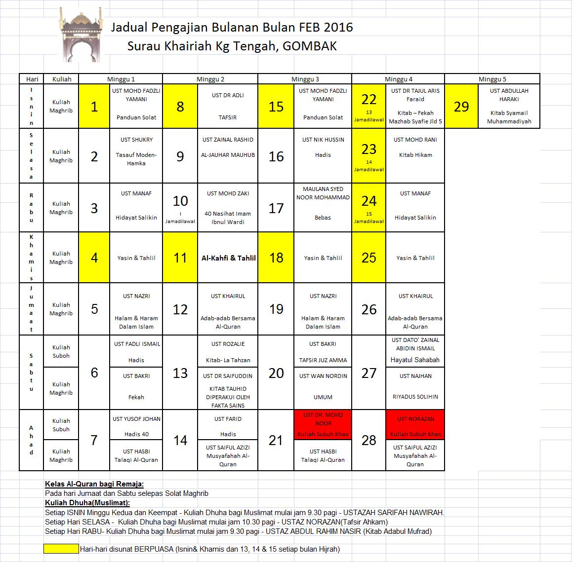 Jadual Feb 16