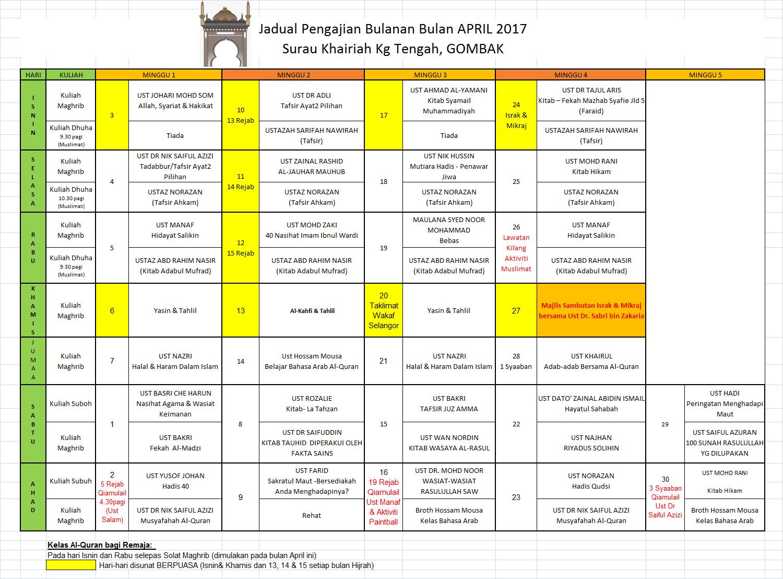 Jadual April 17