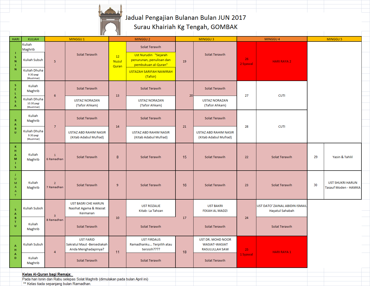 Jadual Pengajian Jun 2017
