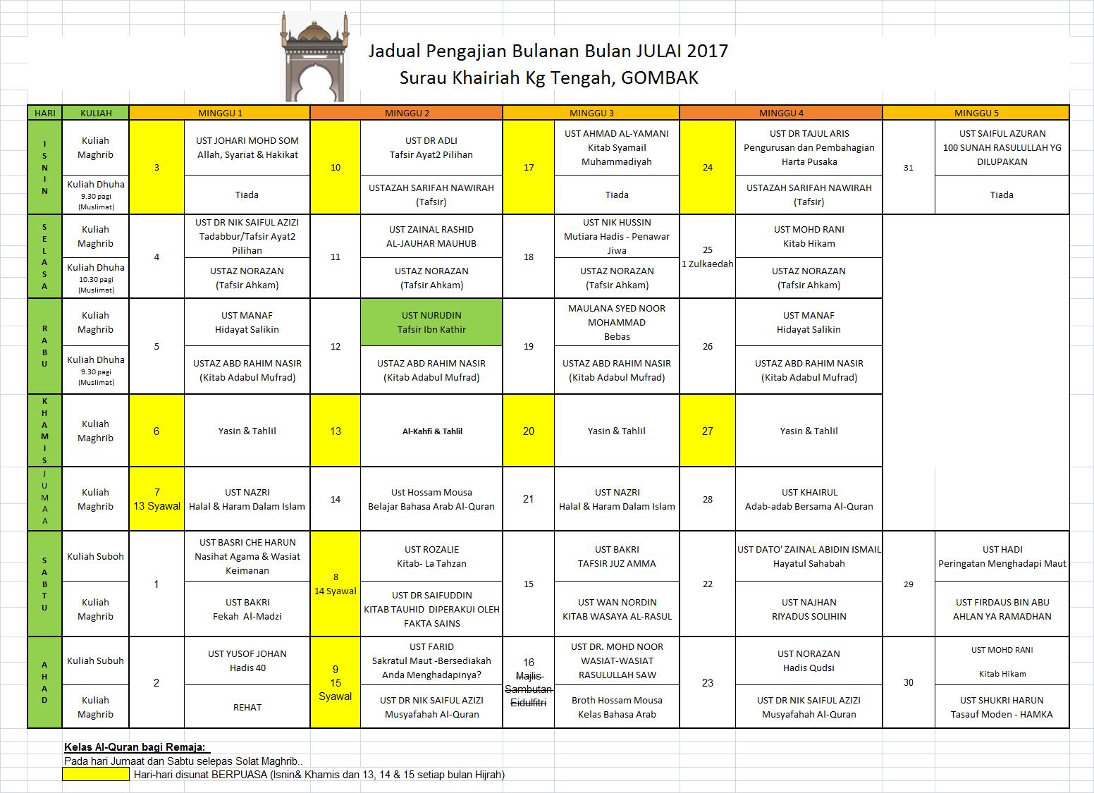 Jadual Julai 17