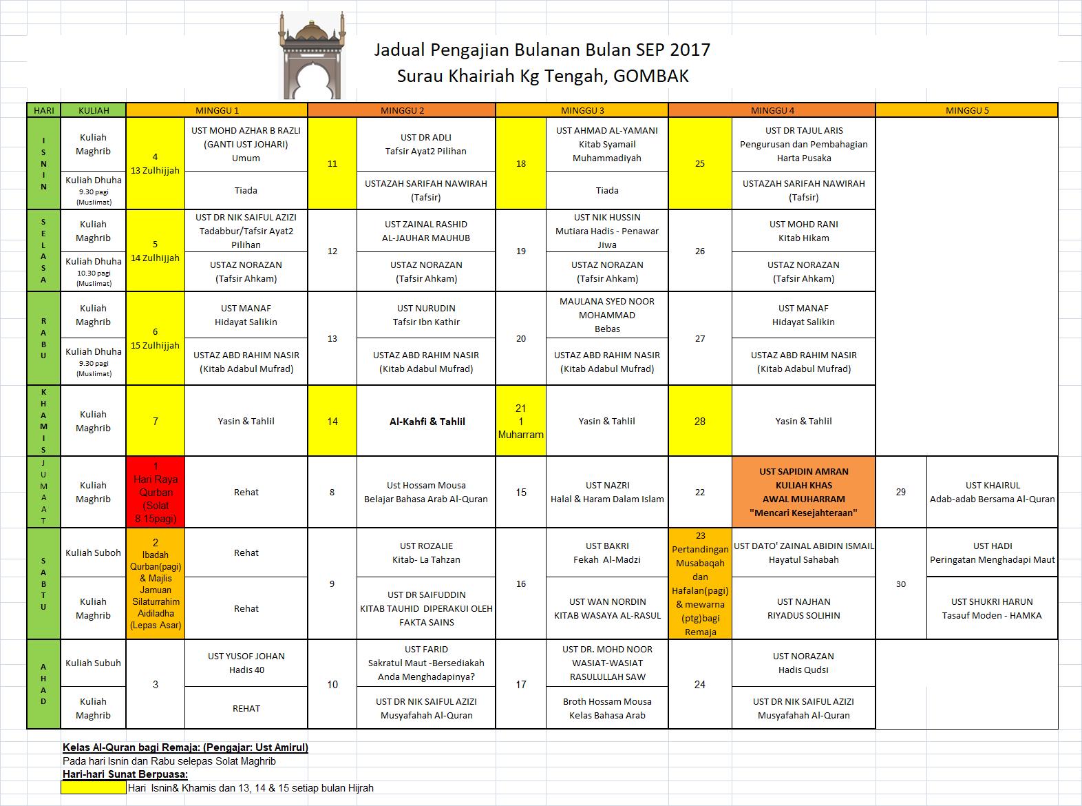 Jadual Pengajian Sep17