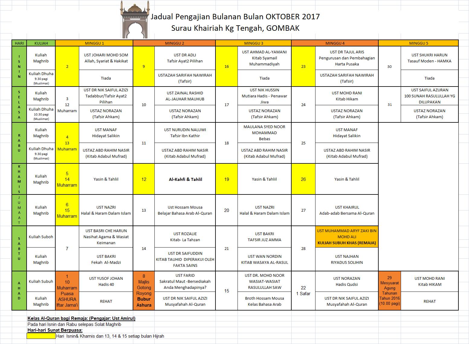 Jadual Okt 2017