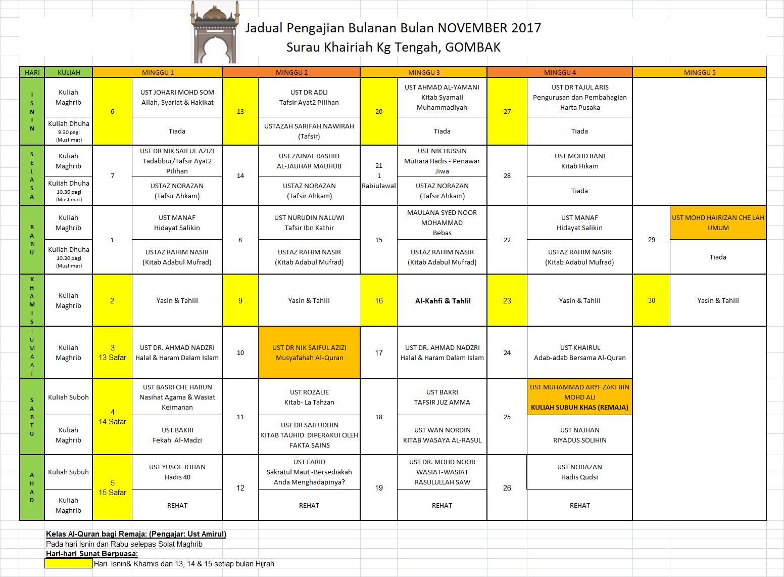 Jadual Nov 2017