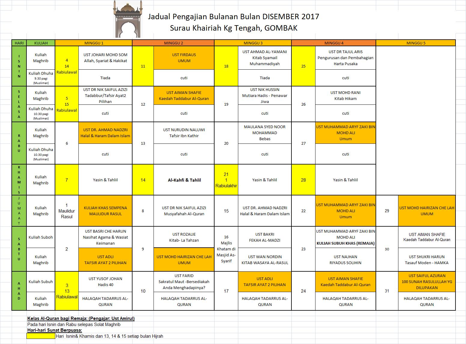 Jadual Pengajian Dis 17