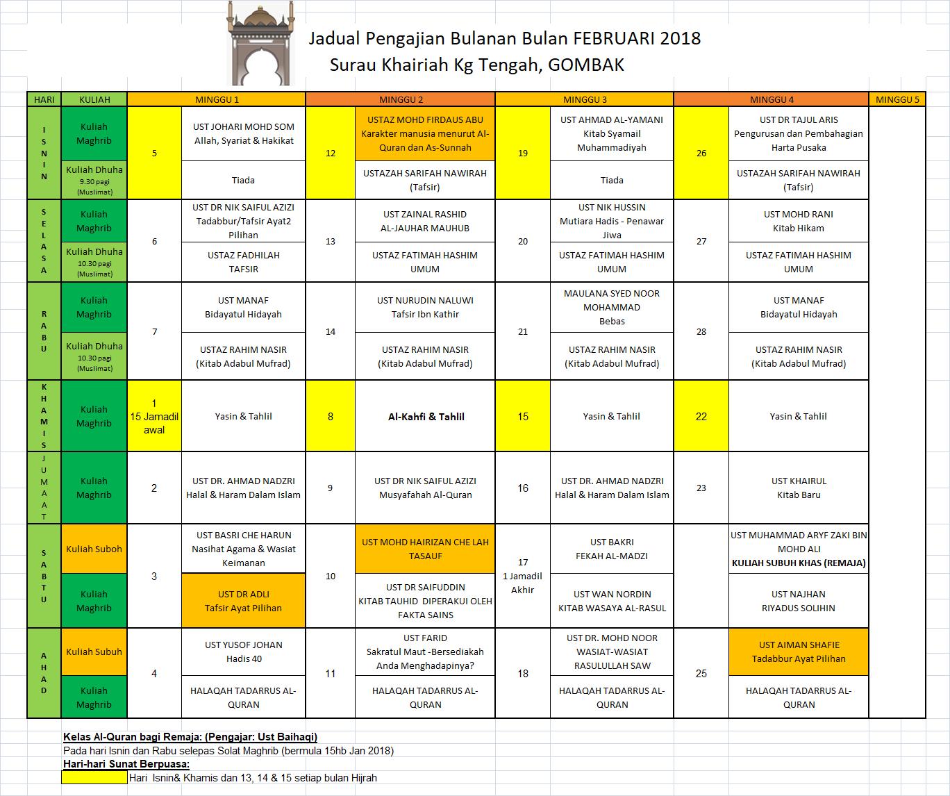 Jadual pengajian Feb18