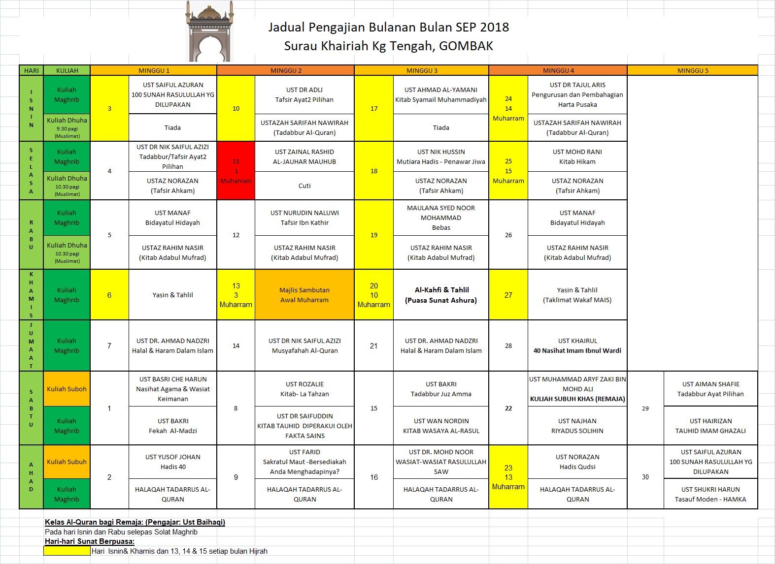 Jadual Pengajian Sep 2018