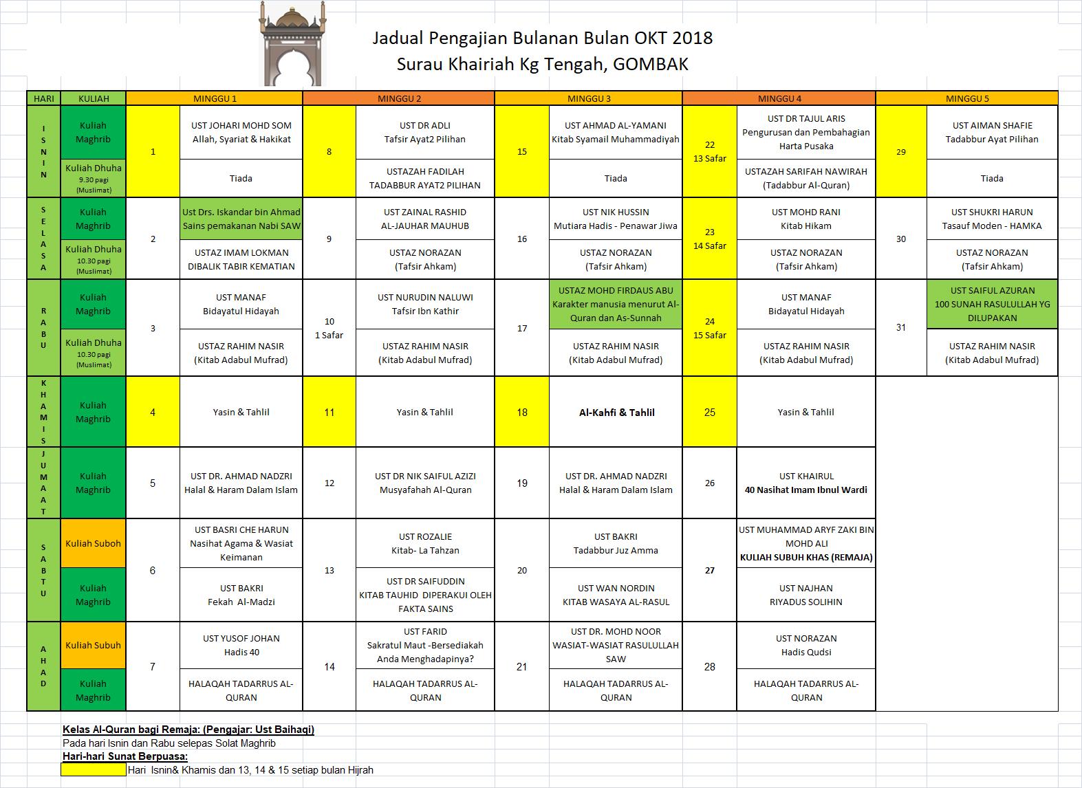 Jadual Okt 18