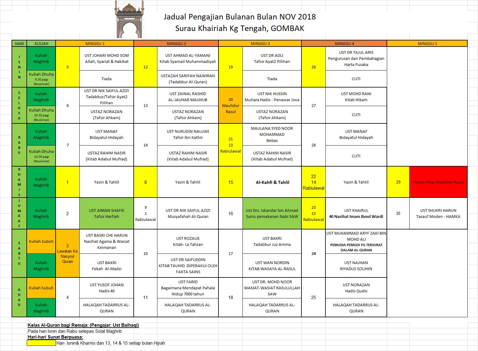 Jadual Nov 2018