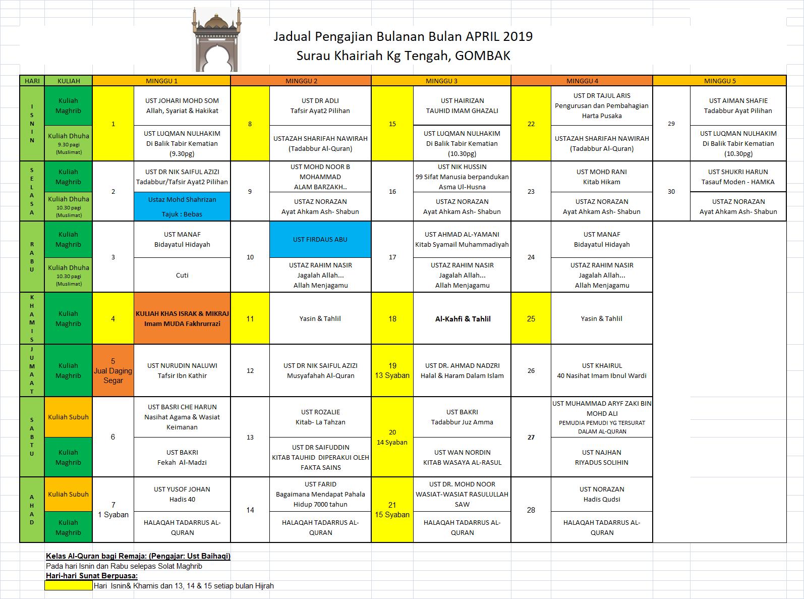 Jadual April 19