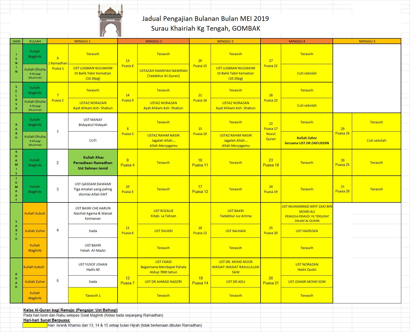 Jadual Mei 2019
