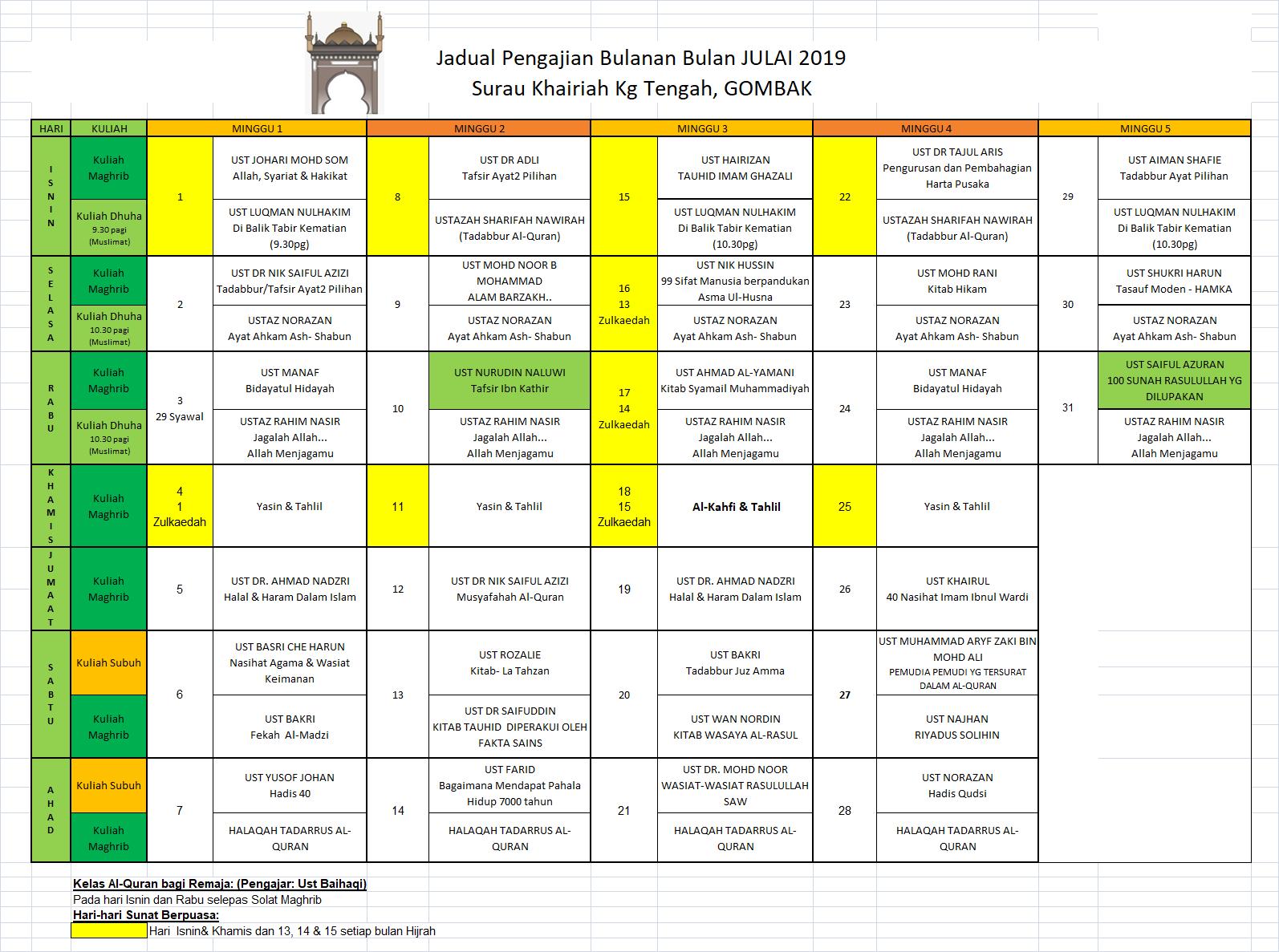 Jadual Julai 2019