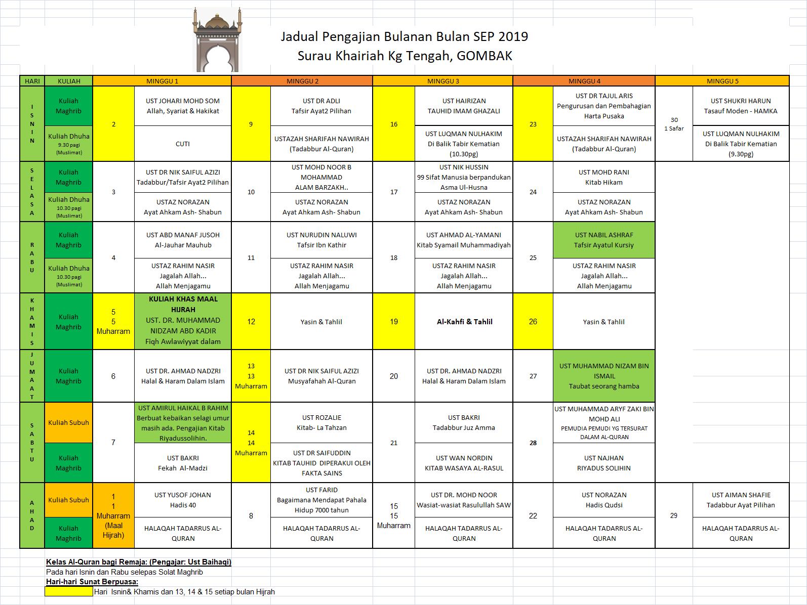 Jadual Sep 2019
