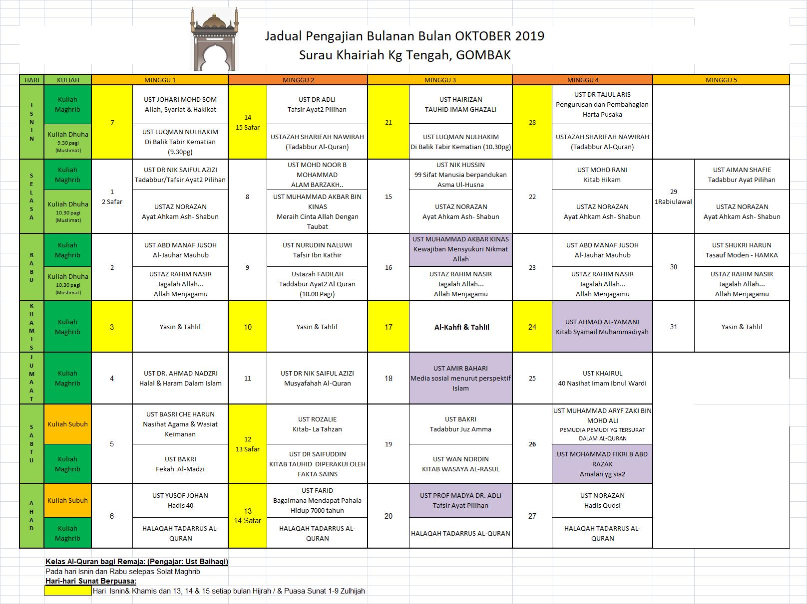 Jadual Okt 2019